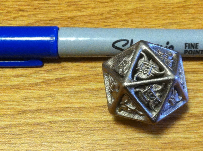 Tengwar Elvish D20 3d printed Marker for Scale