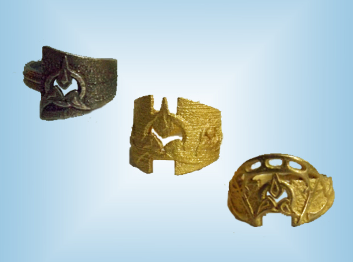 To Wed A Warrior Ring 3d printed Compare finishes - Stainless, Matte Gold, Polished Gold