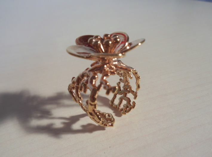 Flower ring (US sizes 5.75 – 9.75) 3d printed Rose Gold Plated, size 9.125 (not for sale in that size)