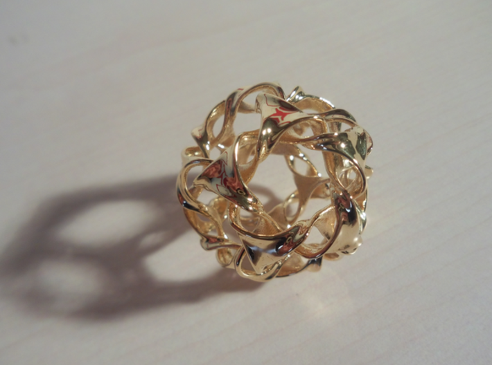 Dodeca-ducov (wide gap, no holes) 3d printed 18k Gold Plated