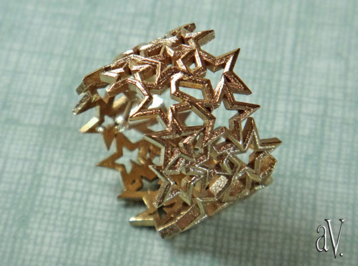 Scatter 5 Sided Stars Ring 3d printed