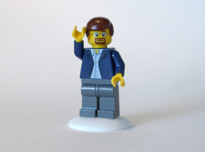 bX Minifig Base (Round) / 10 pieces 3d printed White Strong & Flexible Polished (minifig not included)