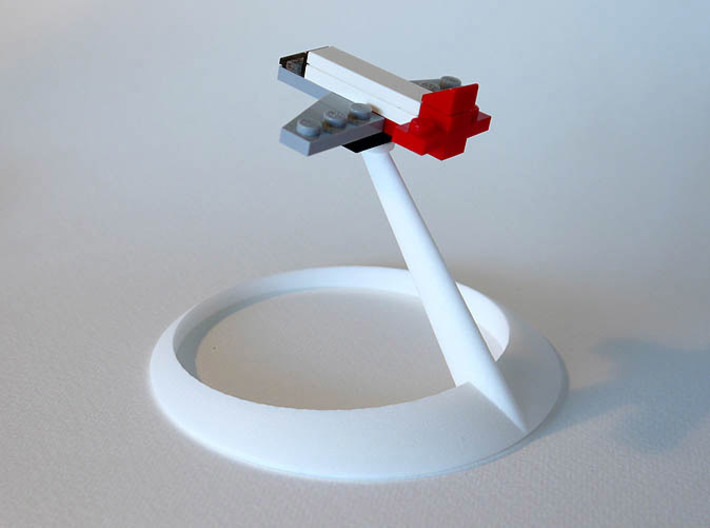 bX FlightStand (1x2) 3d printed White Strong & Flexible Polished (Lego pieces not included)