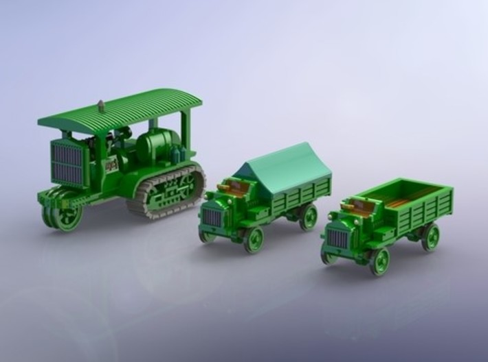 WW I Holt 75 Tractor & FW 3to Trucks 1/144 3d printed