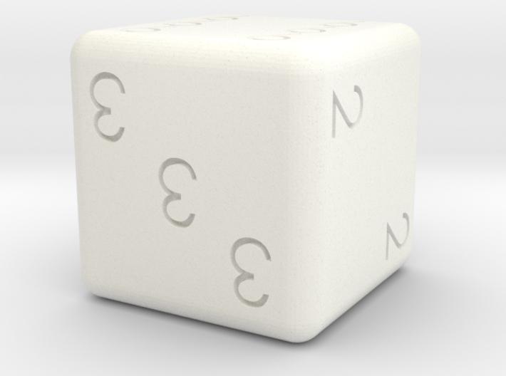 Numberal dice 3d printed White