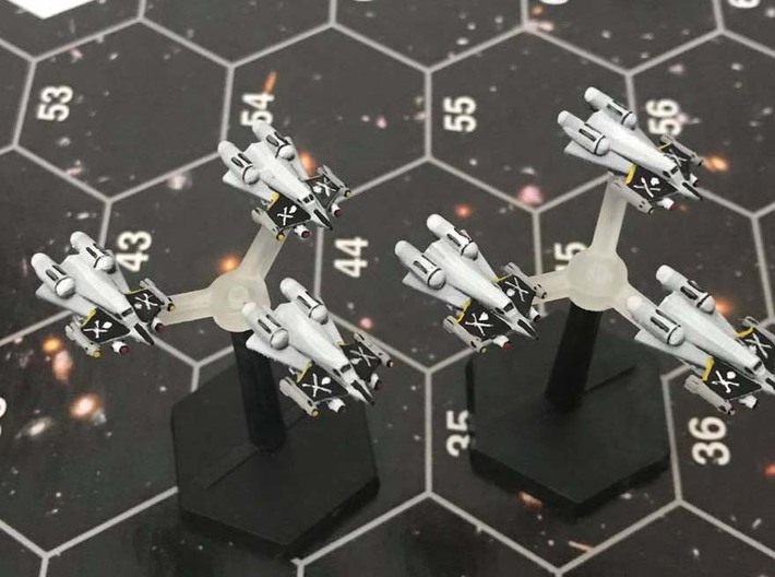 "Omni Scale Federation F-14 ""Tomcat"" Fighters MGL 3d printed Painted by a fan. Stands and stand toppers not included."