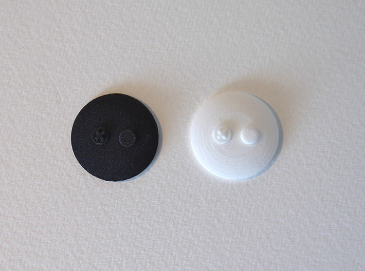 bX Minifig Base (Round) / 10 pieces 3d printed White Strong & Flexible Polished + Black Strong & Flexible