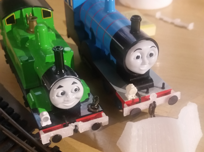 Tomy / Trackmaster Snowplough Type 2 Size 4 3d printed Fitting a 'bufferbeam slotter'