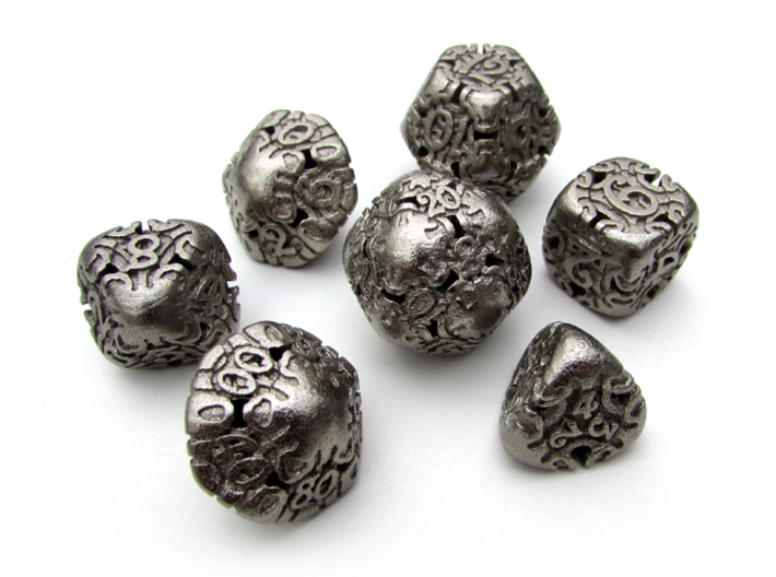 Art Nouveau Dice Set with Decader 3d printed In Polished Nickel Steel