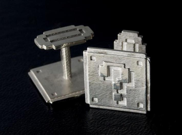 Question block cufflinks 3d printed Cast in sterling silver from Frosted Ultra Detail