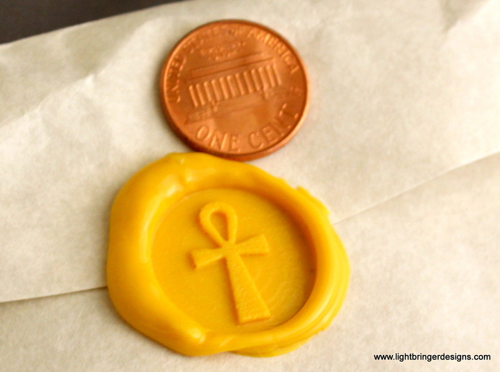 Ankh Wax Seal 3d printed Just the wax impression, in Sunflower Yellow