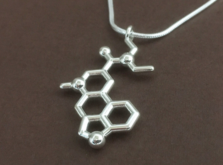 LSD molecule pendant 3d printed LSD pendant in polished silver, chain not included