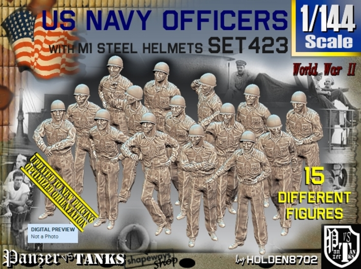 1/144 USN Helmet Officers Set423 3d printed