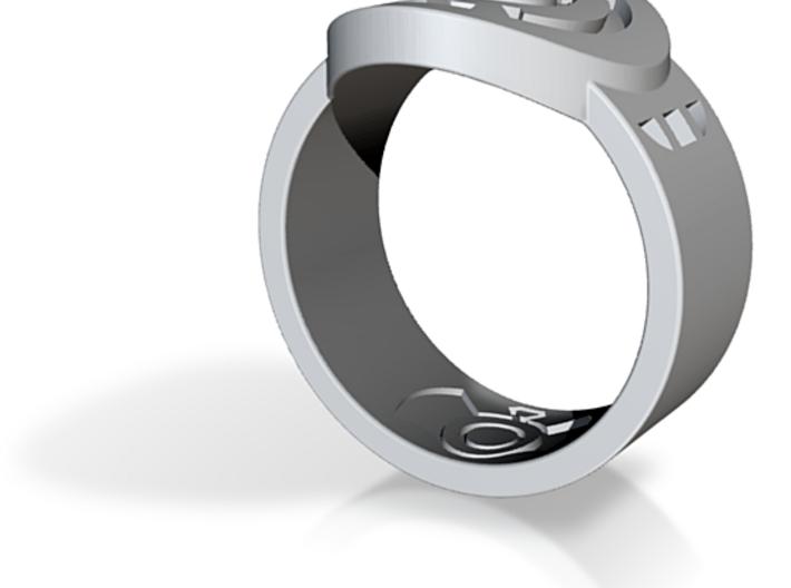 Blue Hope FF Ring Sz 14 3d printed Custom Enameled