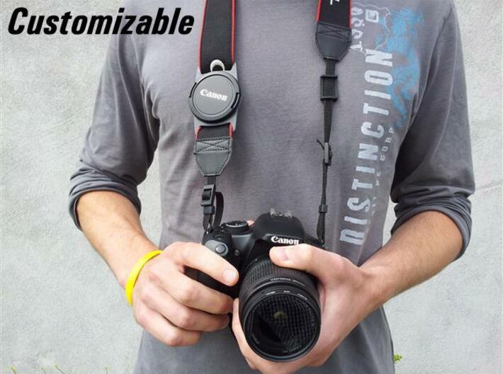 Lens Cap Holder (customizable) 3d printed Description