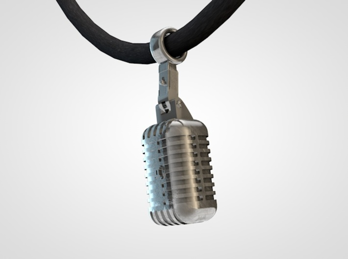 very detailed retro Microphone Pendant 3d printed microphone pendant2