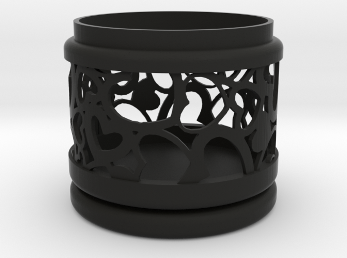 Gift Box round No. 1 with Hearts (filigree, short) 3d printed