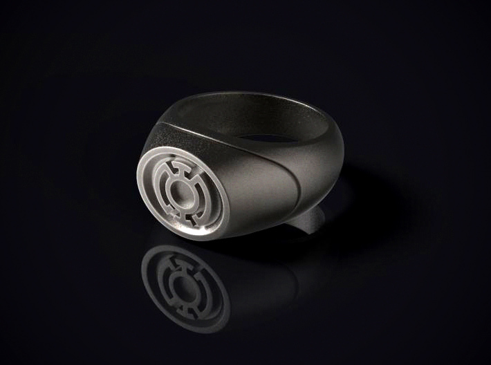 22.2 mm Blue Lantern Ring - WotGL 3d printed 3D render of the ring in Stainless Steel