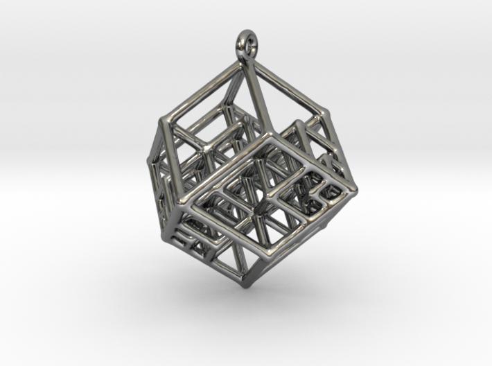 Tesseract Earrings 3d printed