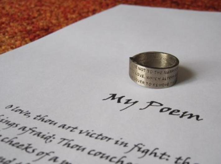 Make your own text / message / poem Ring 3d printed The Sonnet ring