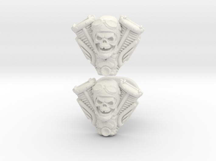 Skull engine cufflinks 3d printed