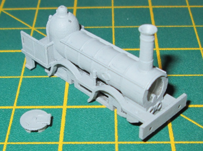 N Gauge 1846 Coppernob Loco Scratch Aid 3d printed N Gauge Coppernob loco cleaned and primed only.