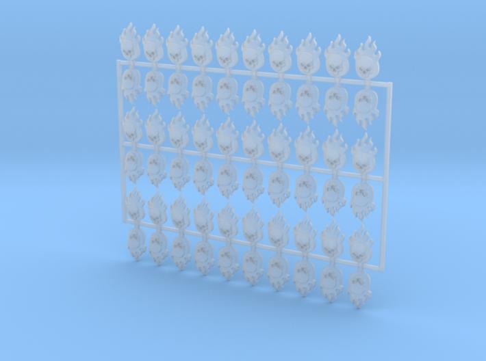 60x Flame Skull : Shoulder Insignia pack 3d printed