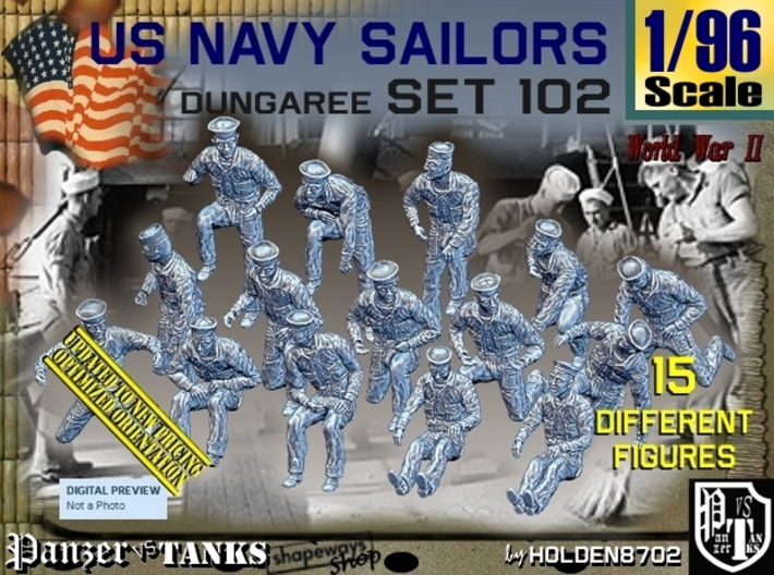1/96 USN Dungaree Set 102 3d printed