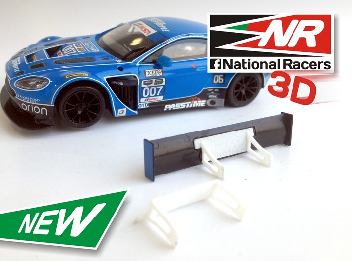 3D Rear wing support SuperSlot AstonMartin Vantage 3d printed Support compatible with Super Slot model (slot car and rear wing not included)