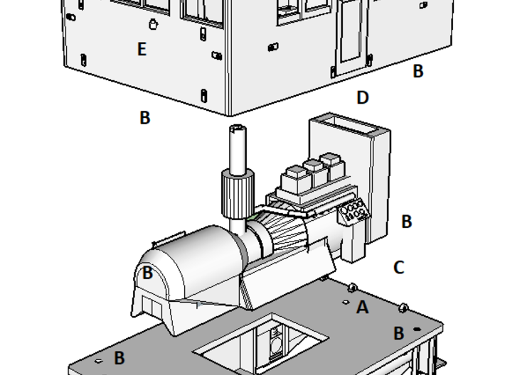 O Scale GE 23 Ton Box Cab Cab 3d printed Exploded View