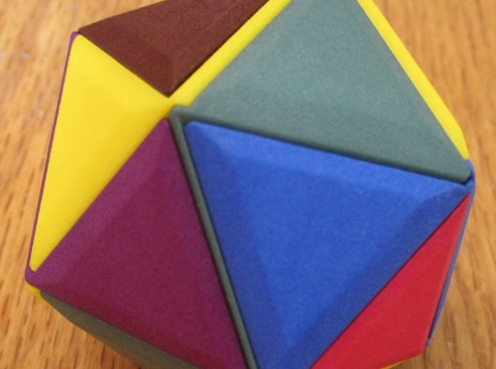 12 Different Piece Icosahedron 3d printed Assembled puzzle