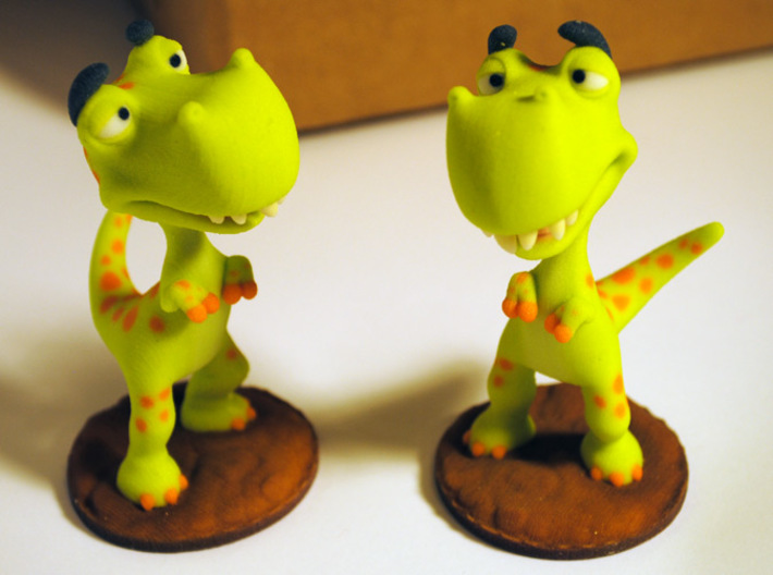 Poor T-Rex full-color miniature statue 3d printed These two little trouble makers showed up on my doorstep today
