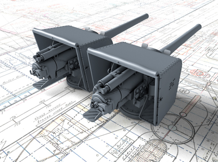 """1/128 6""""/45 (15.2 cm) BL Mark XII with Shield x2 3d printed 3d render showing part detail"""