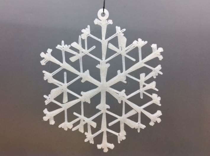 """Organic Snowflake Ornaments - Stack of 6 3d printed 3D printed FDM prototype of the """"Canada"""" ornament"""