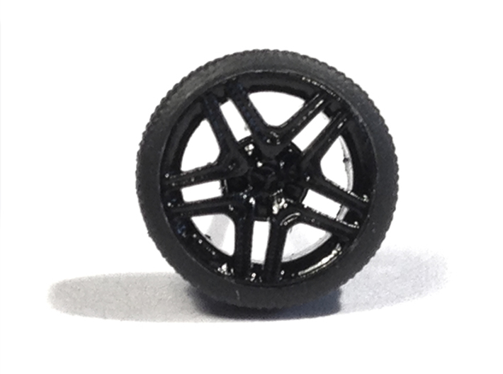 """1/87 Car tyres """"SPORT"""" - wheels with profile 3d printed Tyres with AMG rims"""