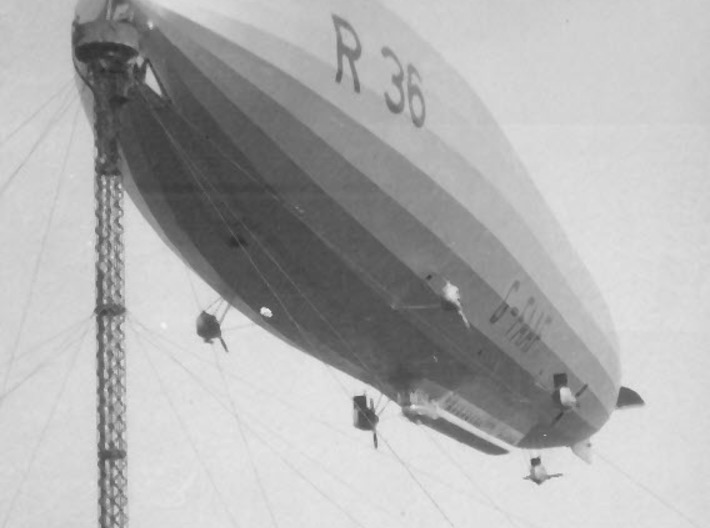 R36 in 1/700 or 1/600 scale 3d printed R36 at the 120ft high mast (with no lift!)  at Pulham, Norfolk, England (photo: Airship Heritage Trust)