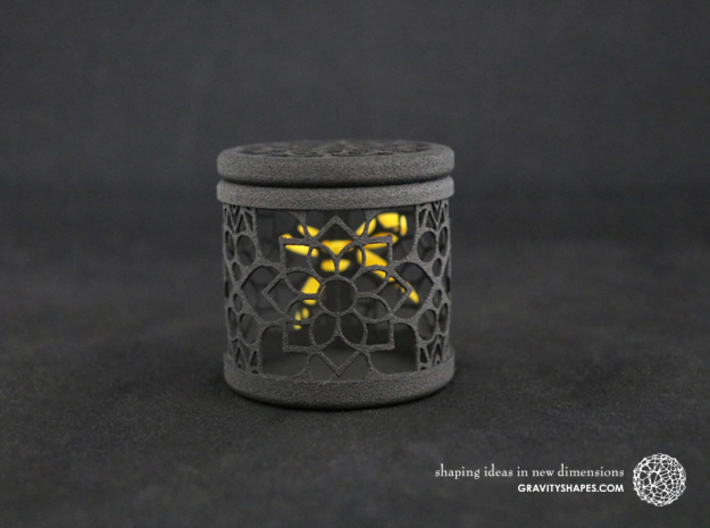 Gift Box No. 1 with Mosaic-2 (filigree, high) 3d printed The photo shows a print made of black strong and flexible incl. yellow lacing.