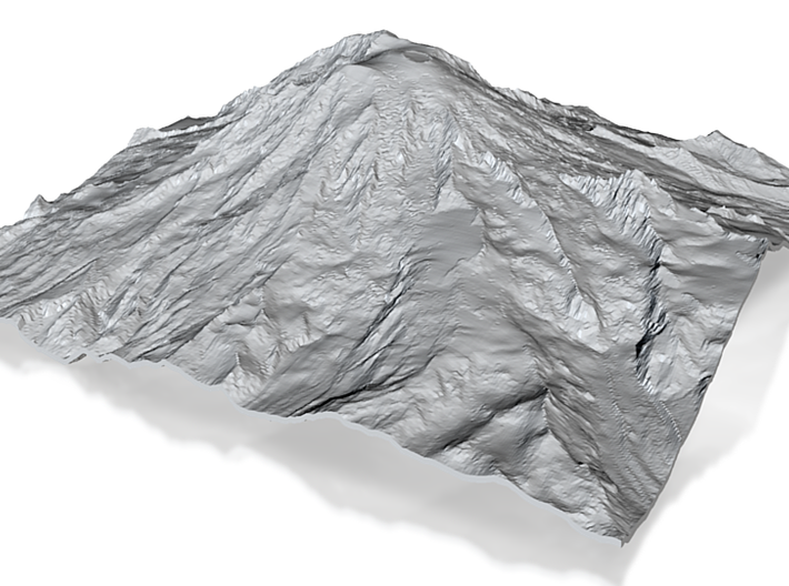 Mount Rainier (25cm square, 2mm thick) 3d printed