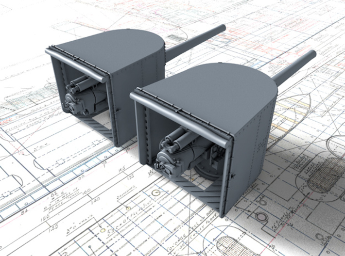 "1/144 Queen Elizabeth Class 6"" BL Mk XII Deck Guns 3d printed 3d render showing part detail"