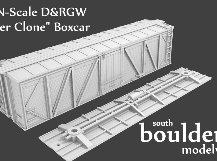 "N-Scale D&RGW ""Fowler Clone"" Boxcar (AB Brakes) 3d printed (K Brake Version Shown)"