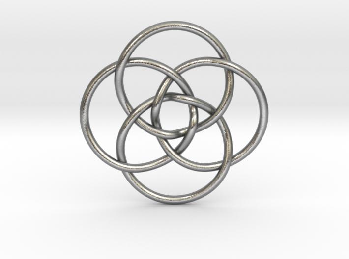 """Quadruple Vesica Piscis Pendant 1.2"""" 3d printed"""