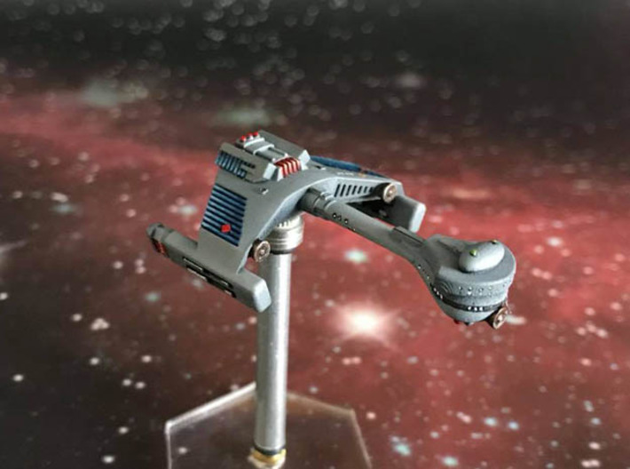 3125 Scale Klingon F5S Scout Frigate WEM 3d printed Painted by a fan (Smooth Fine Detail Plastic). Stand not included.