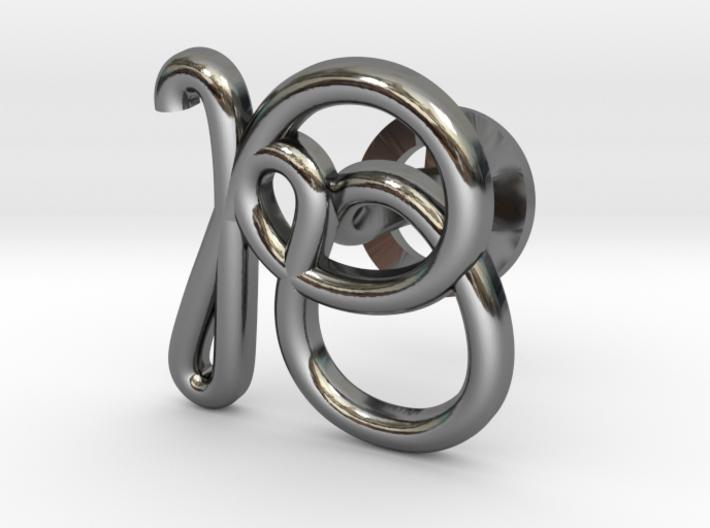 Cursive R Cufflink 3d printed