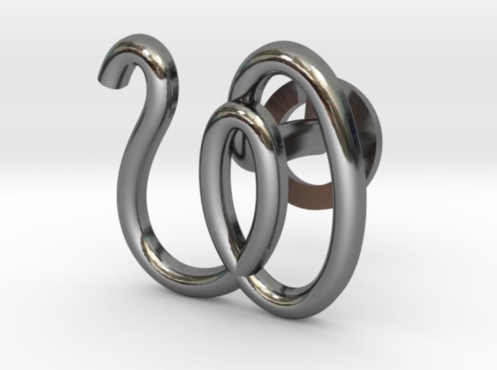 Cursive W Cufflink 3d printed