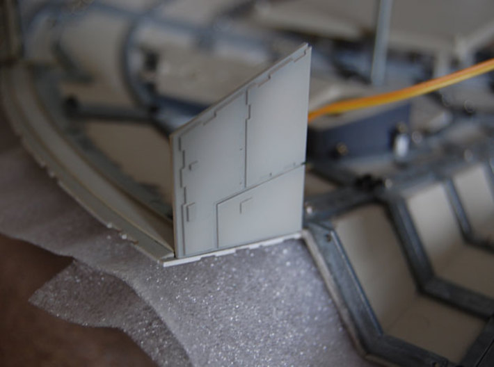DeAgo Millennium Falcon Airlock side panels 3d printed Printed side panel SP10, painted and installed on the model
