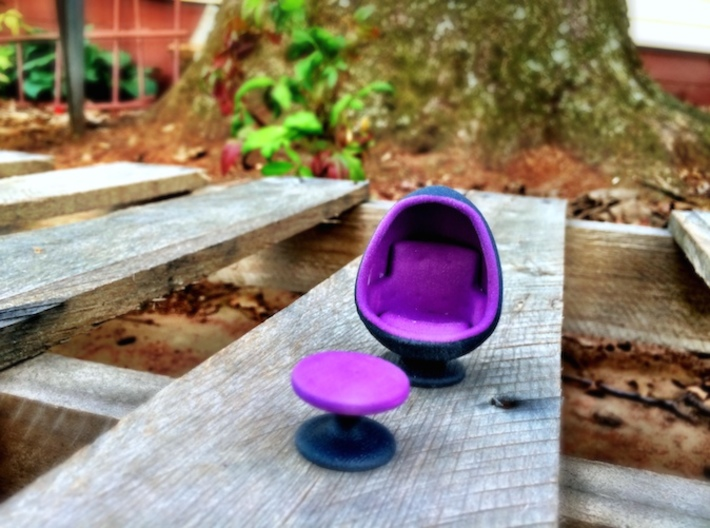 Egg Chair Dome: Purple & Black (1:24 Scale) 3d printed