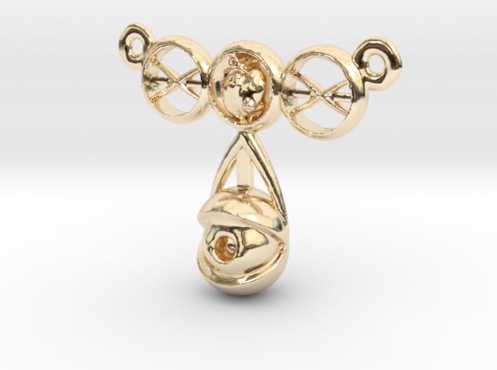 eyeball heart necklace pendant 3d printed