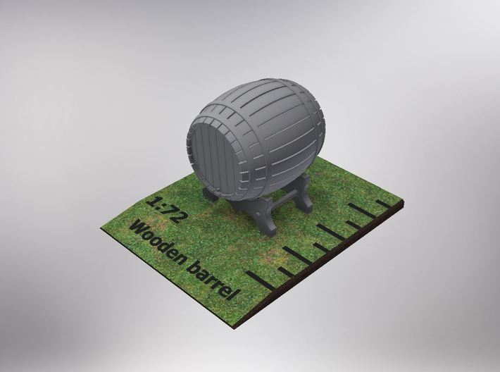 1/72nd (20 mm) scale wooden barrel 3d printed