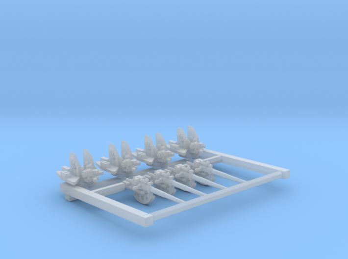 """1/700 4.7"""" /40 (12cm) QF Mark VIII x4 No Shields 3d printed 1/700 4.7"""" /40 (12cm) QF Mark VIII x4 No Shields"""