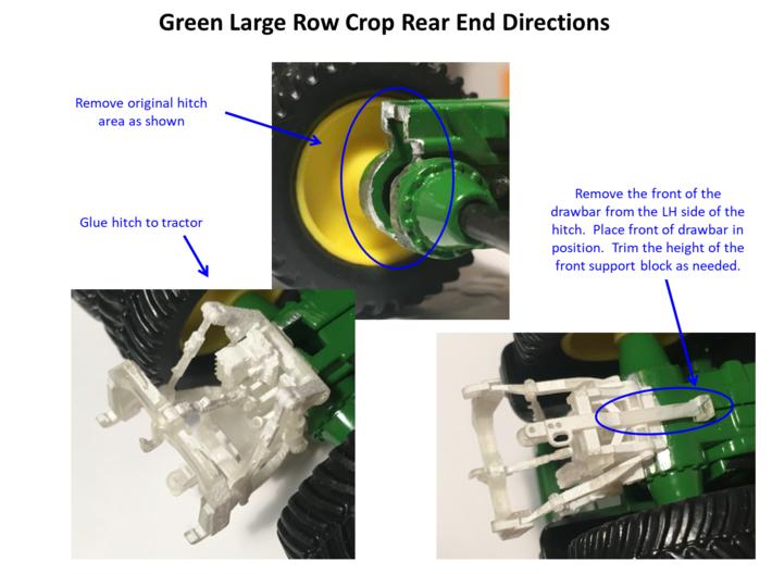 (4) GREEN 2013 & OLDER ROW-CROP TRACTOR REAR ENDS 3d printed